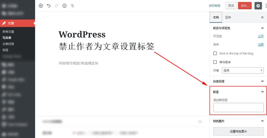 WordPress 禁止作者为文章设置标签